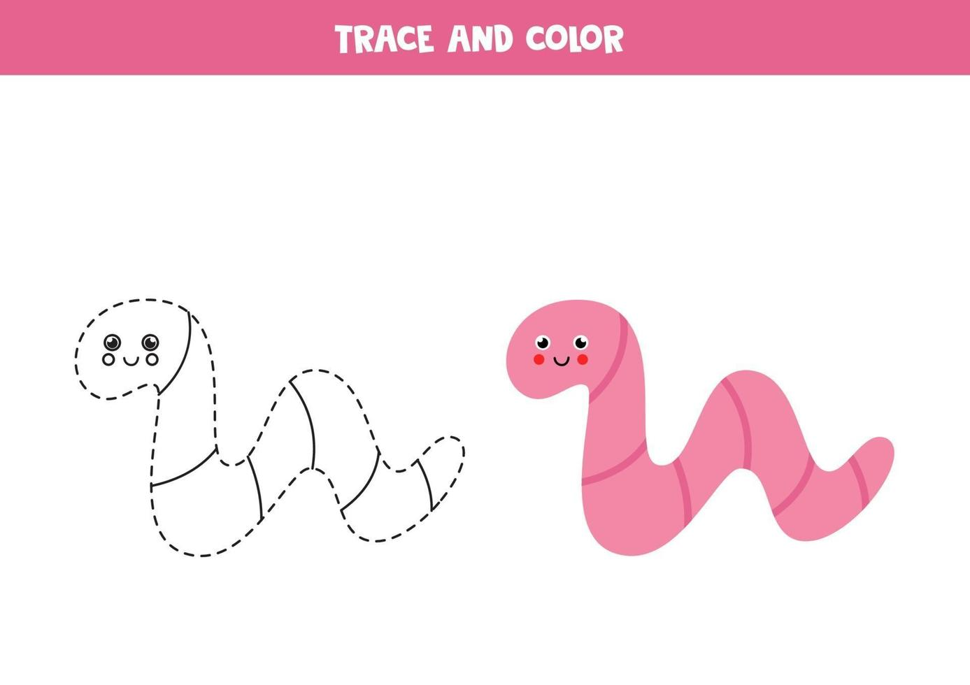 trace en kleur schattige worm. werkblad voor kinderen. vector