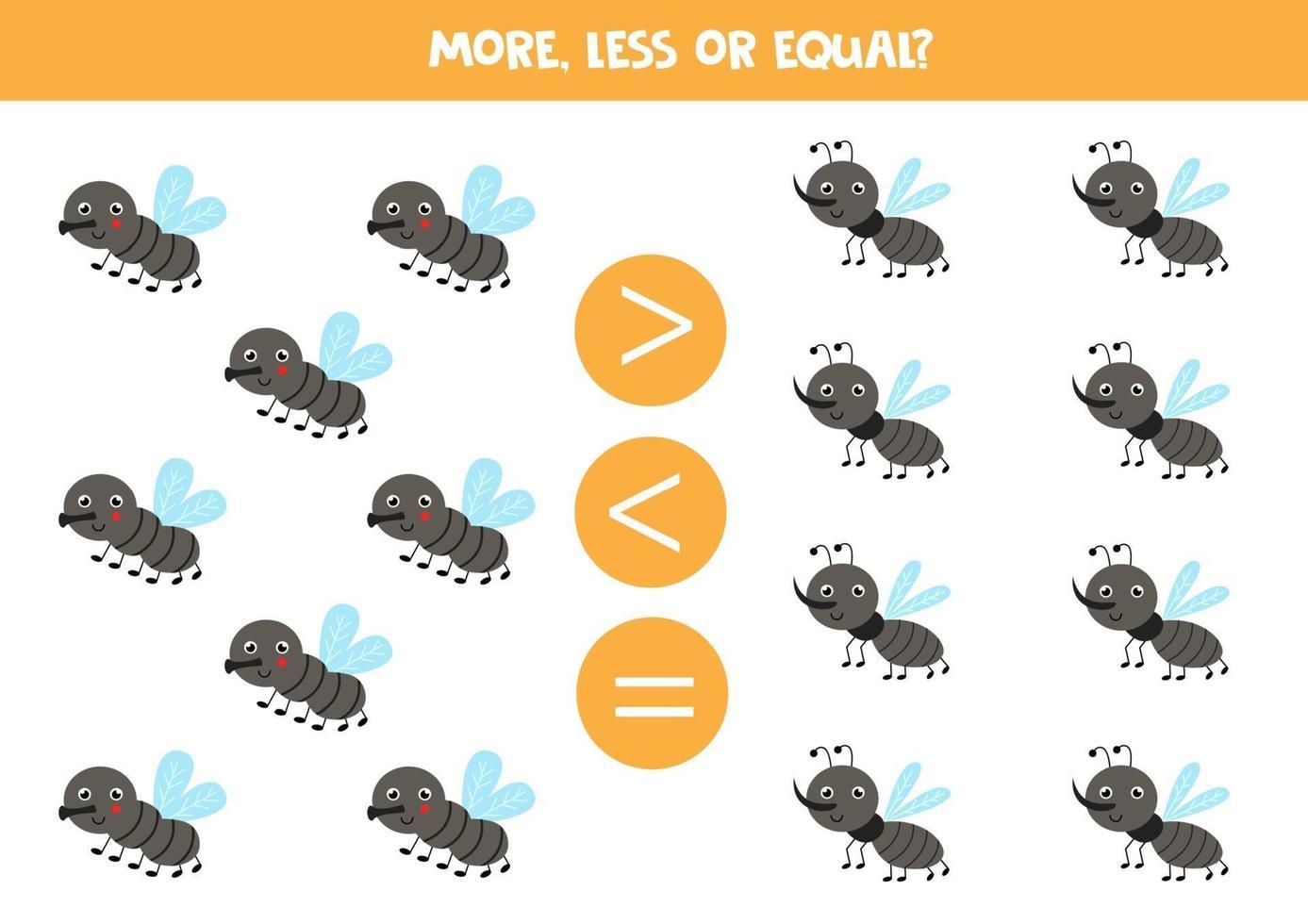 meer, minder, gelijk aan schattige vliegen en muggen. vector