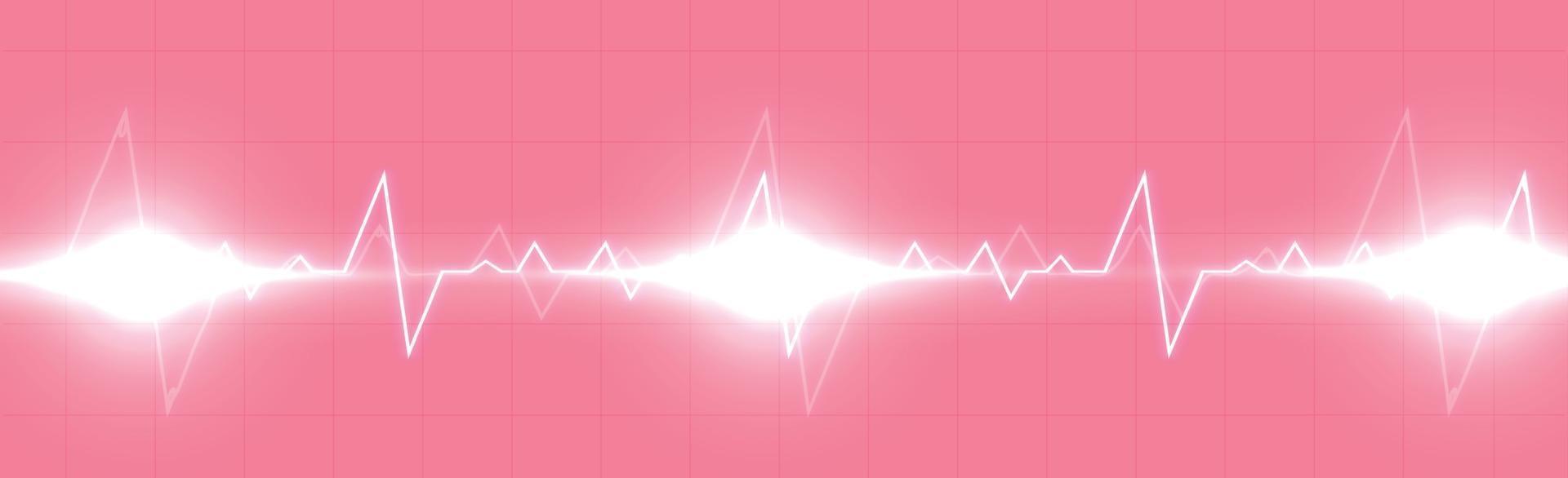 hartpuls - gebogen rode lijn op een rood-zwarte achtergrond vector