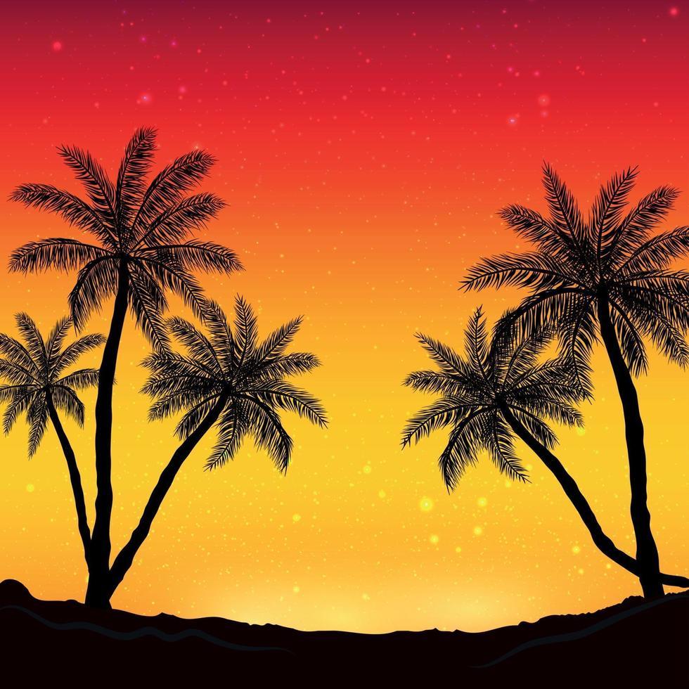 nachtpanorama op de achtergrond van het strand met palmbomen vector