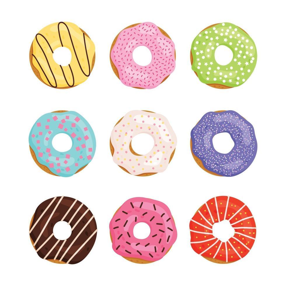 kleur set zoete donut isilated op witte achtergrond. donut collectie. glazuur met chocolade, aardbeien, citroen, appel, vanille. vector