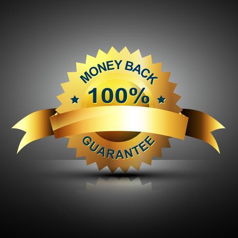 monet terug garantie pictogram in gouden kleur vector
