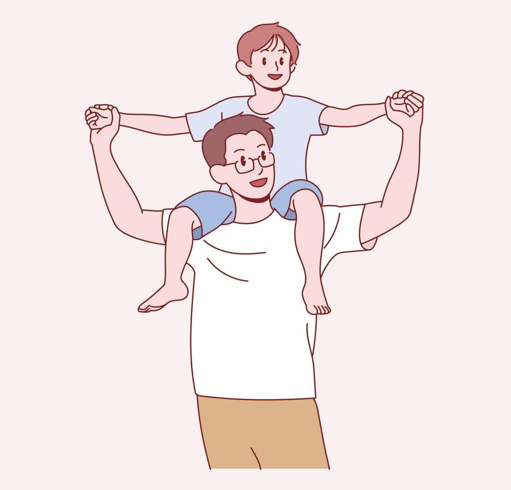 vader draagt zijn jonge zoon op zijn schouder. hand getrokken stijl vector ontwerp illustraties.