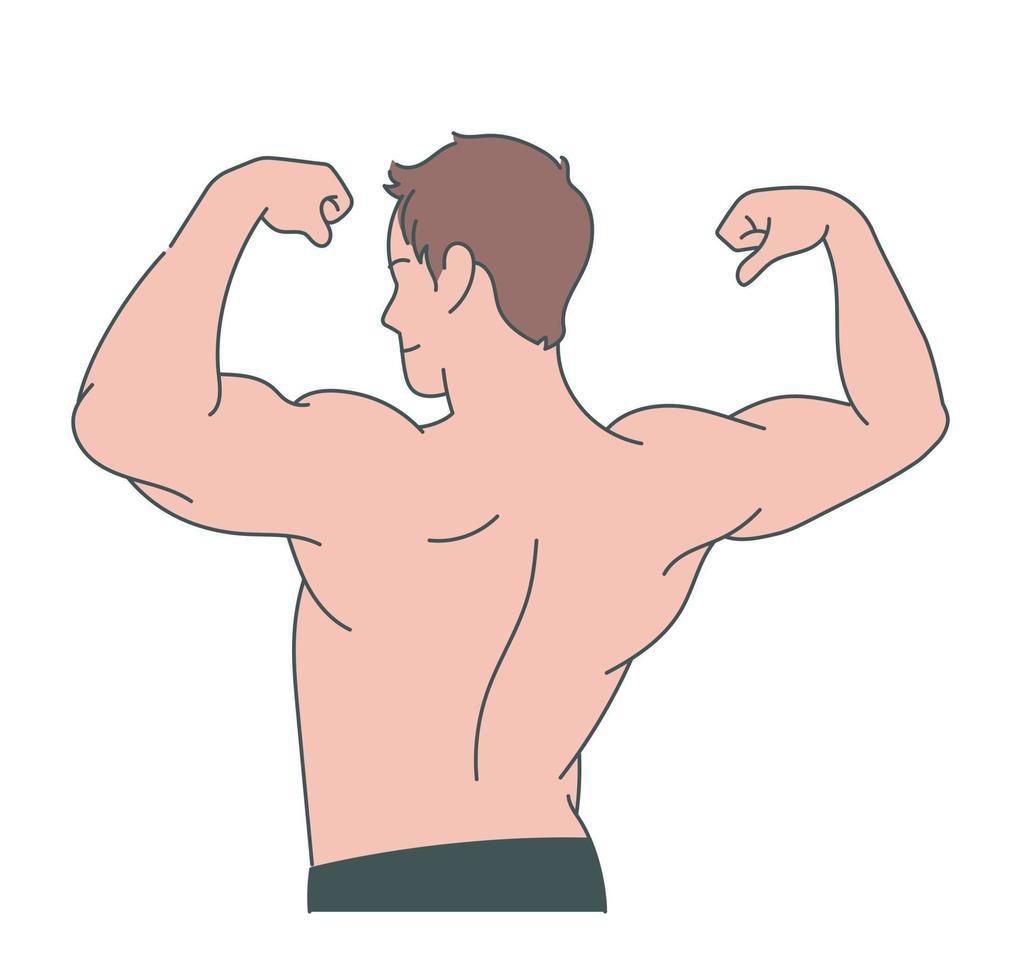 een man heft zijn gespierde arm op. hand getrokken stijl vector ontwerp illustraties.