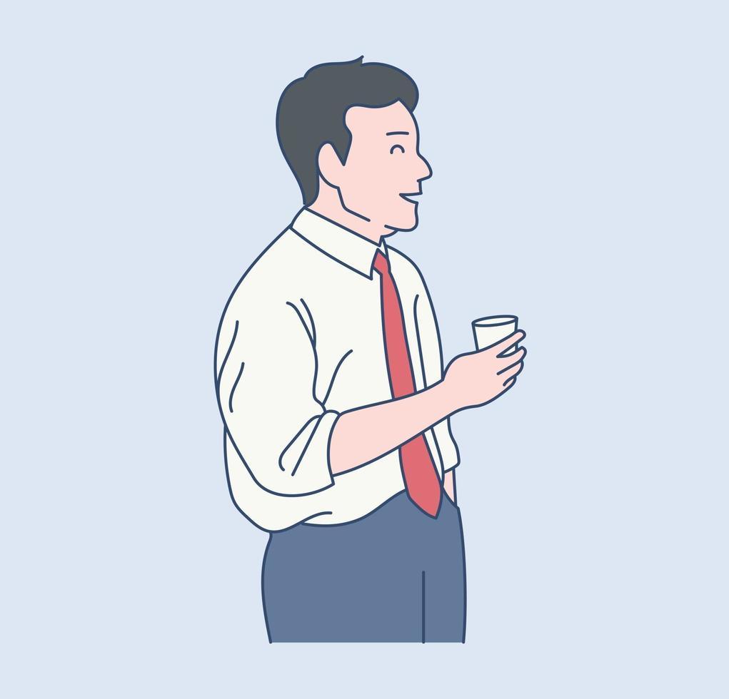 een mannelijke kantoormedewerker praat bij de koffie. hand getrokken stijl vector ontwerp illustraties.