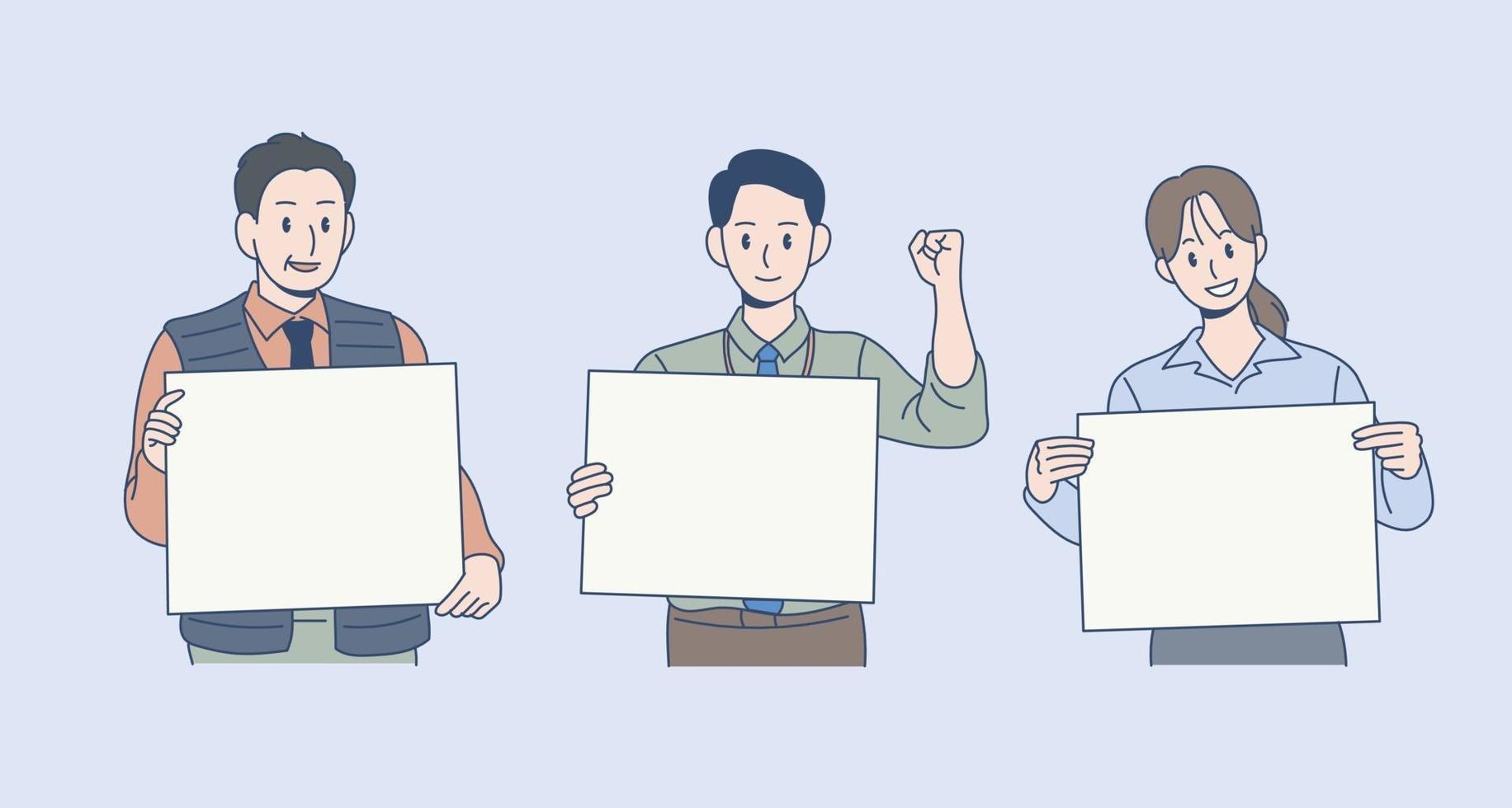 drie kantoormedewerkers staan met wit papier. hand getrokken stijl vector ontwerp illustraties.