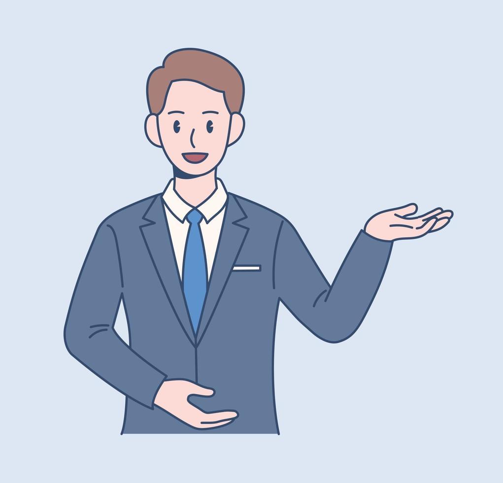 een mannelijke kantoormedewerker steekt zijn hand op en introduceert iets. hand getrokken stijl vector ontwerp illustraties.