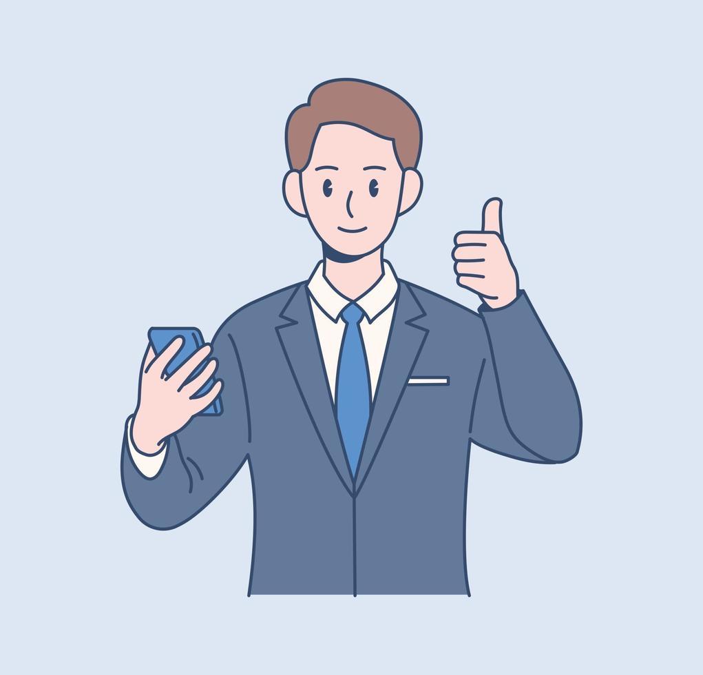 een mannelijke kantoormedewerker doet een duim omhoog teken. hand getrokken stijl vector ontwerp illustraties.