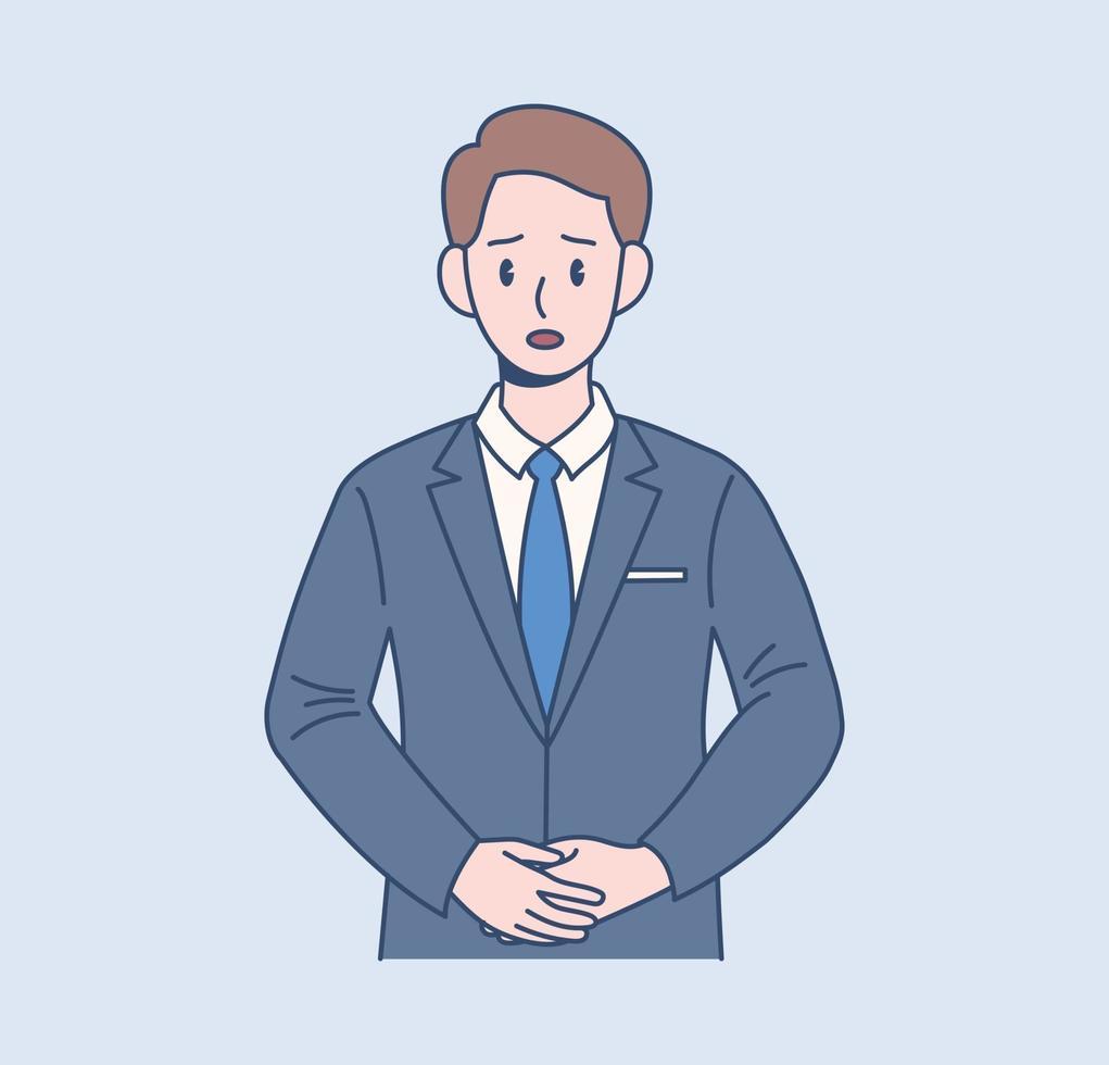 een mannelijke kantoormedewerker heeft een ernstige uitdrukking. hand getrokken stijl vector ontwerp illustraties.