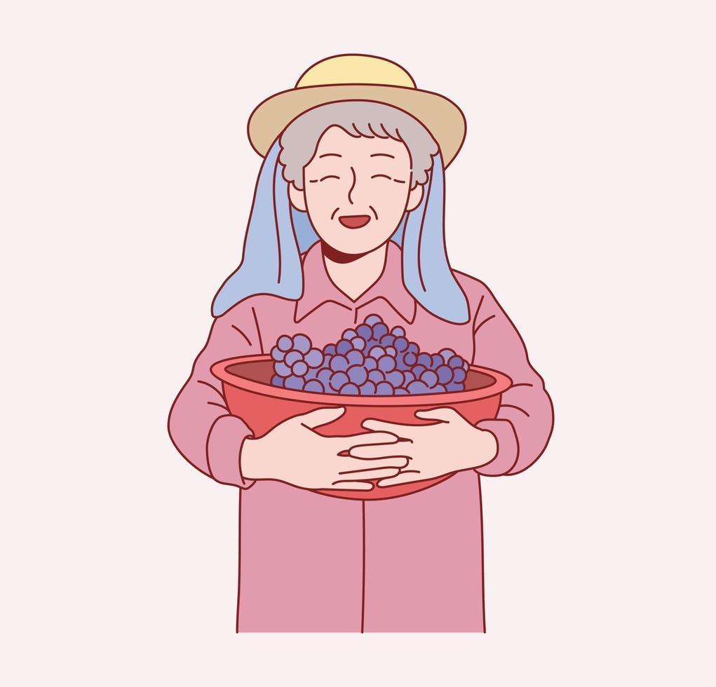 een oude boerin staat met groenten. hand getrokken stijl vector ontwerp illustraties.