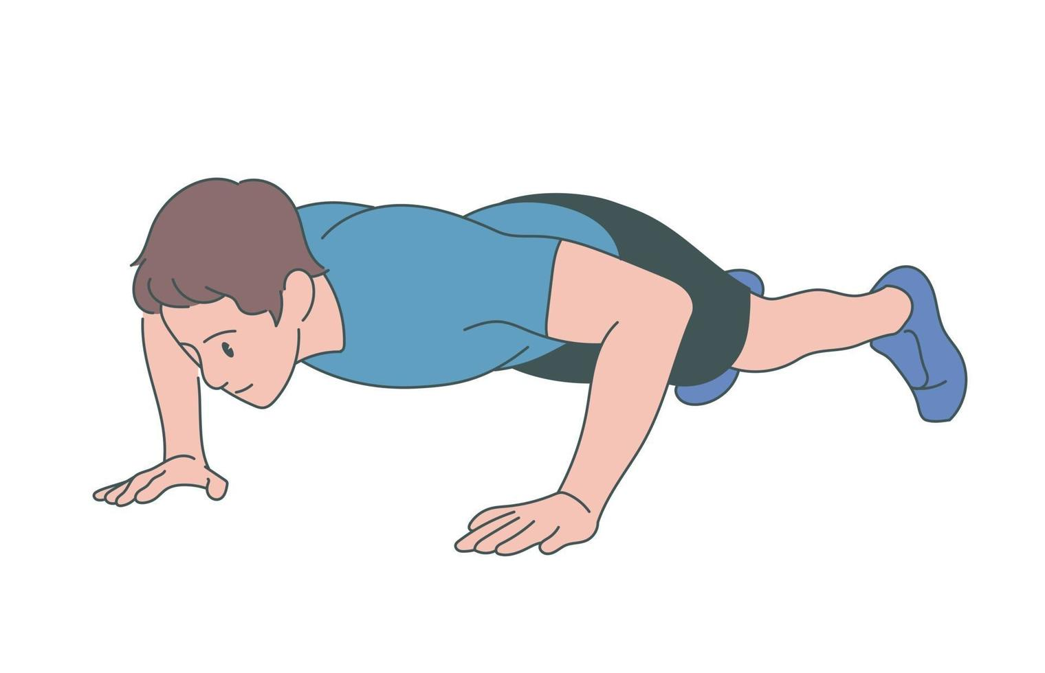 een man doet een push-up. hand getrokken stijl vector ontwerp illustraties.