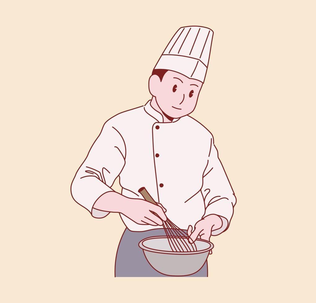 een mannelijke chef kookt. hand getrokken stijl vector ontwerp illustraties.