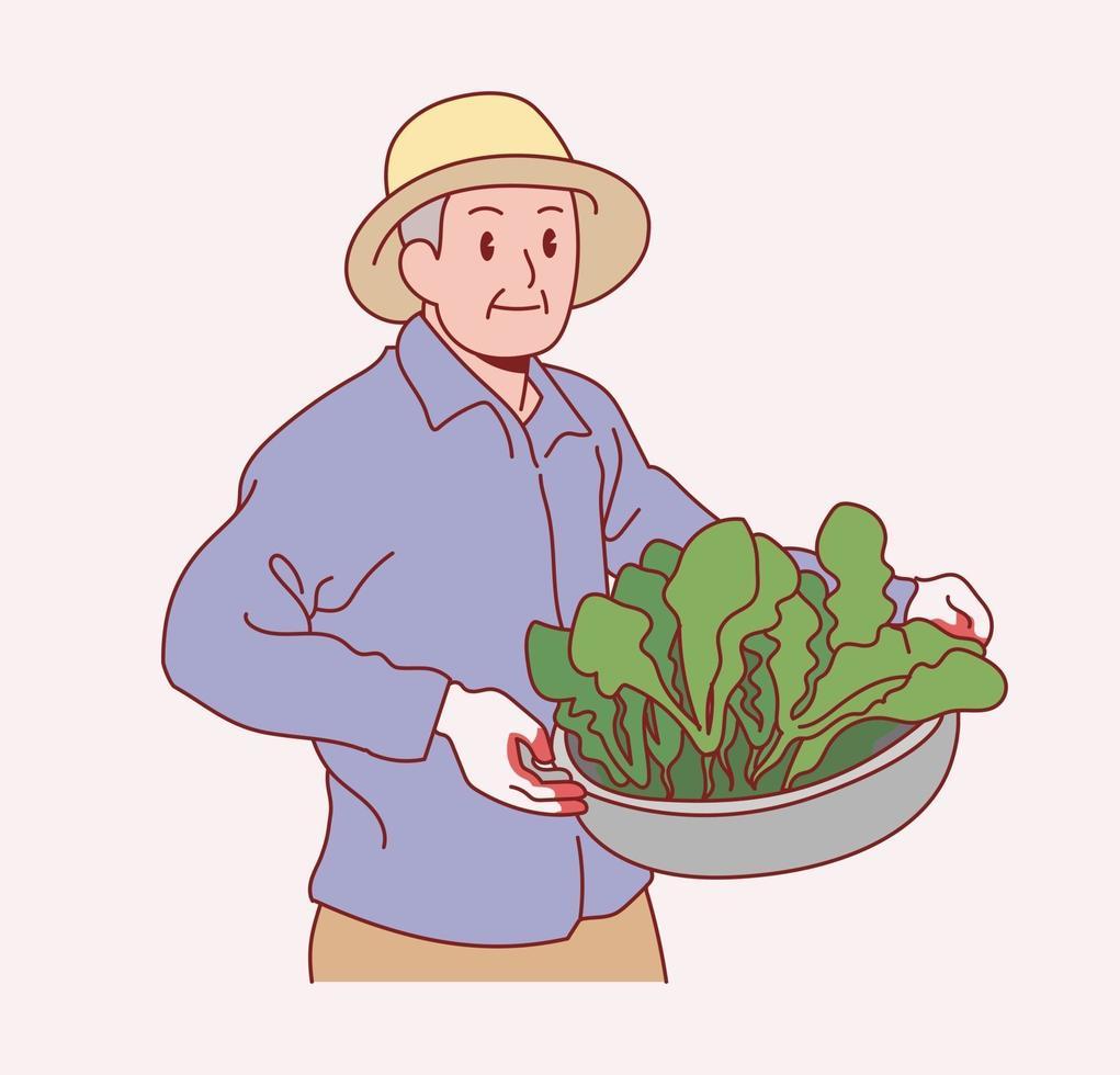 een oude mannelijke boer staat met groenten. hand getrokken stijl vector ontwerp illustraties.