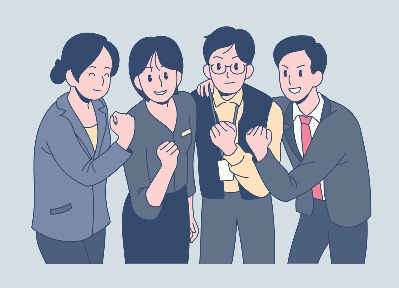 kantoormedewerkers balken hun vuisten en versterken het teamwork. hand getrokken stijl vector ontwerp illustraties.