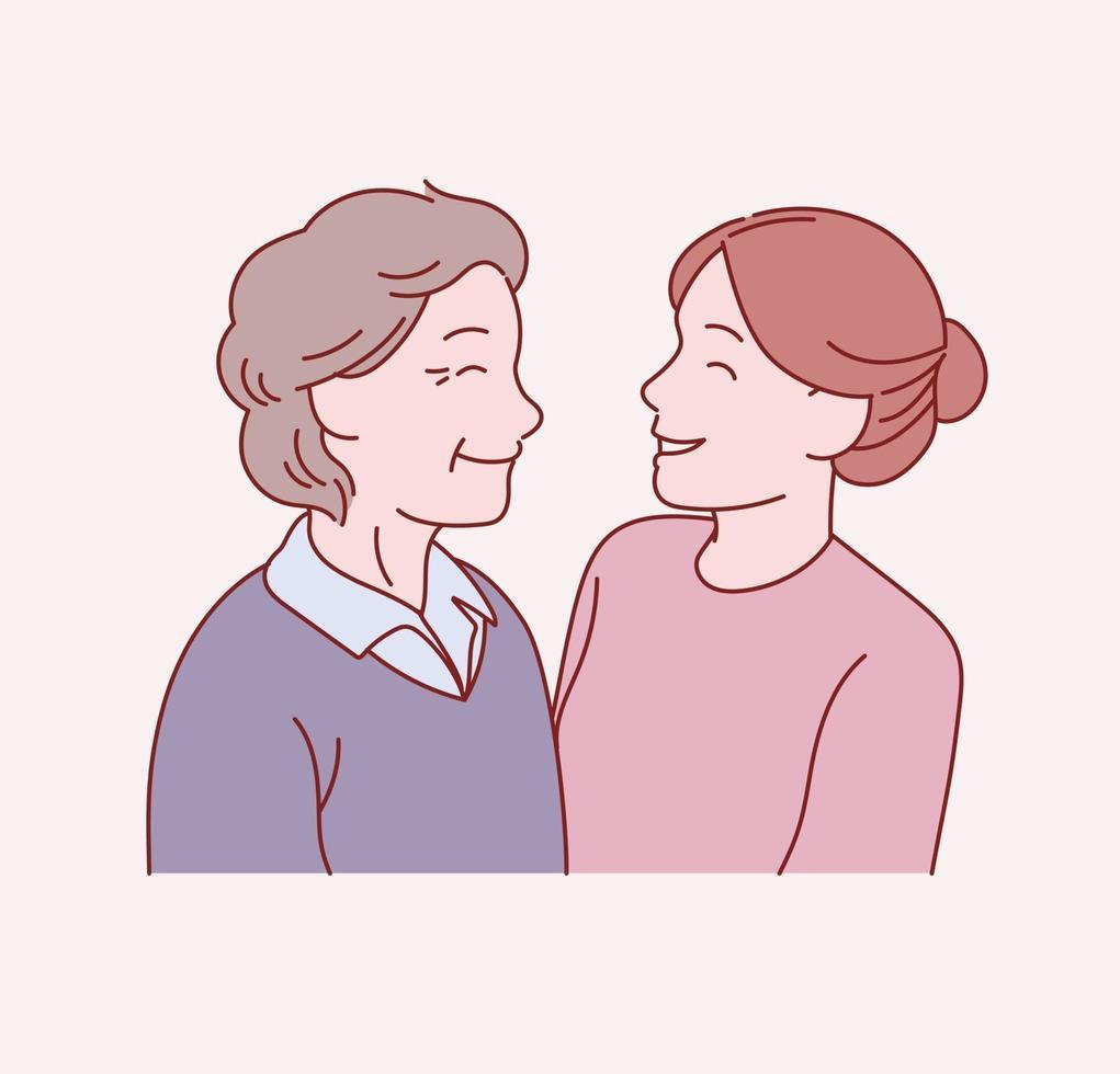 de oude moeder en de jonge dochter staan oog in oog. hand getrokken stijl vector ontwerp illustraties.