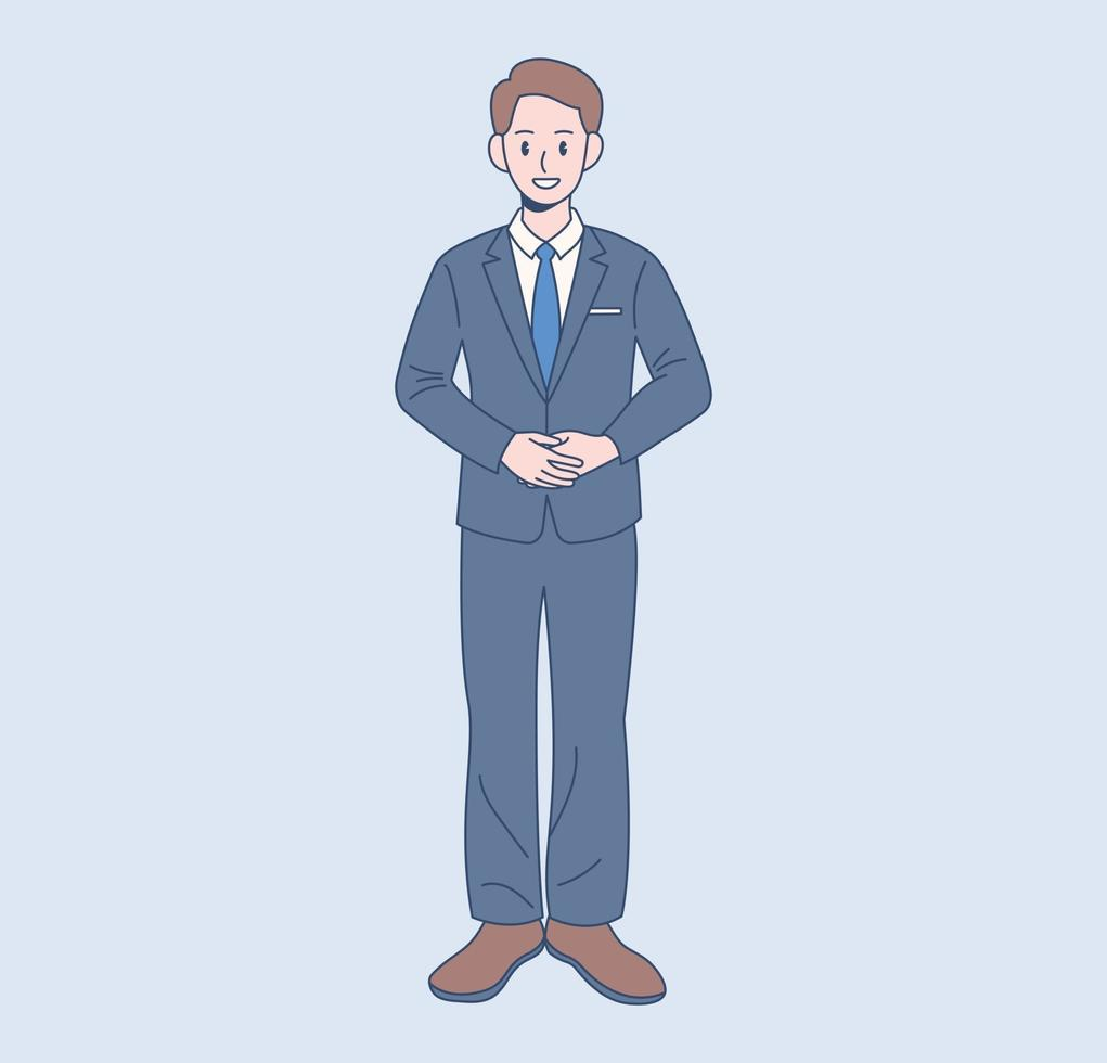 een mannelijke kantoormedewerker staat in een pak. hand getrokken stijl vector ontwerp illustraties.
