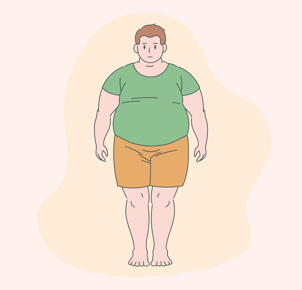 een dikke man staat. hand getrokken stijl vector ontwerp illustratie.