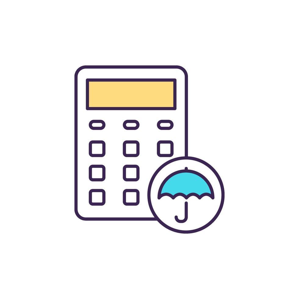 Arbeidsongeschiktheidsverzekering rekenmachine RGB-kleur pictogram vector