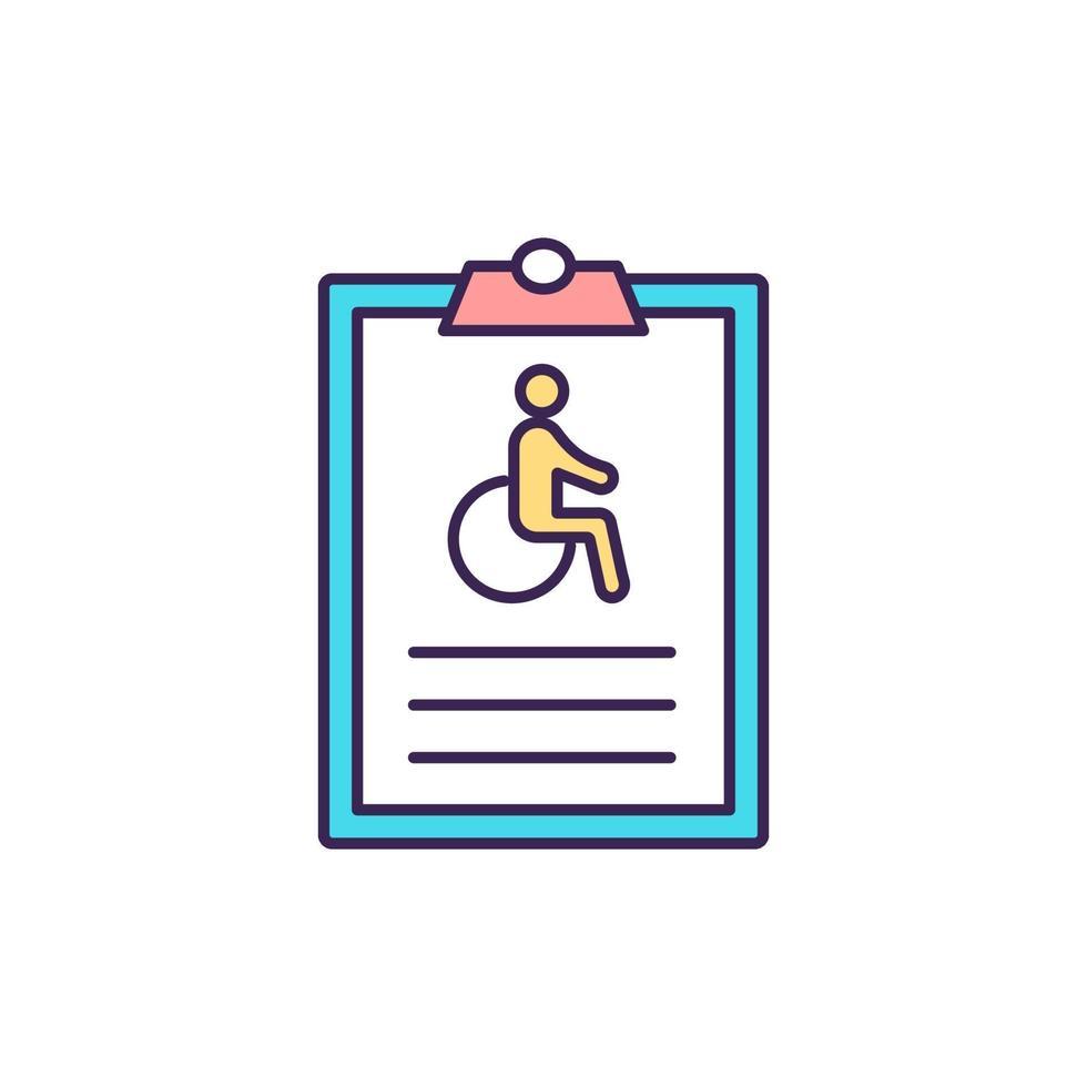 individuele invaliditeitsverzekering RGB-kleur pictogram vector
