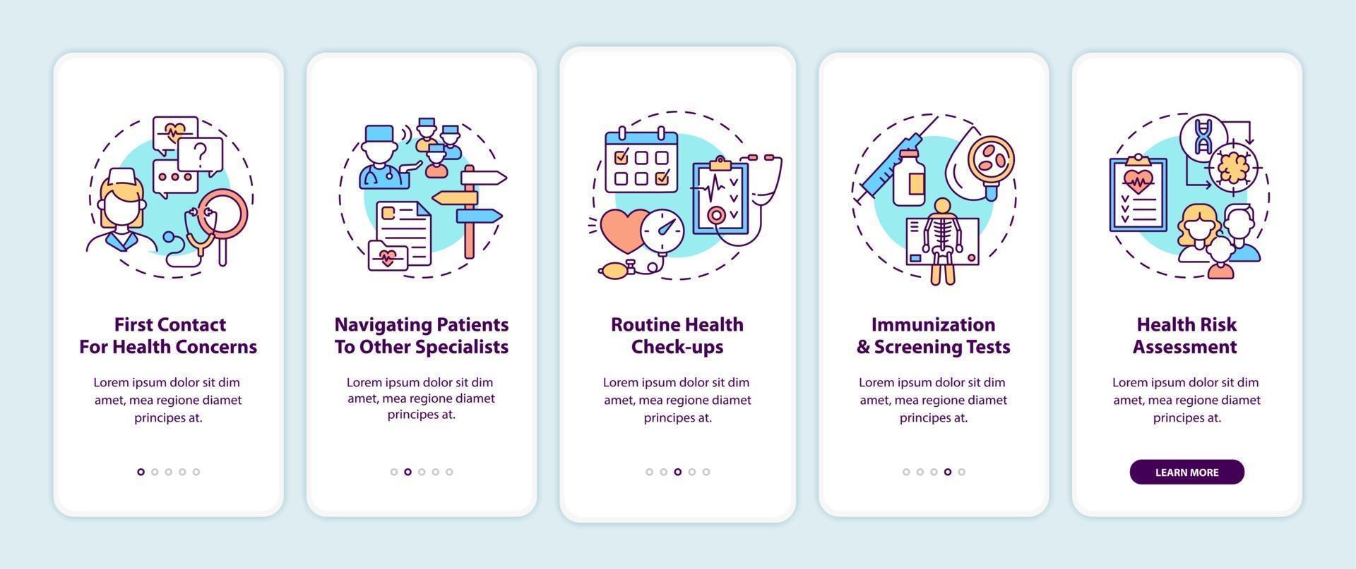 huisarts taken onboarding mobiele app pagina scherm met concepten vector
