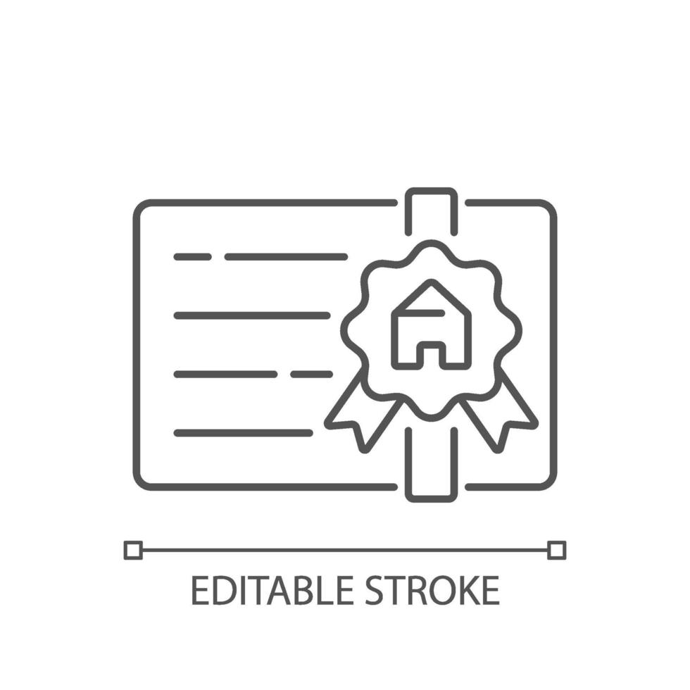 makelaar licentie lineaire pictogram vector