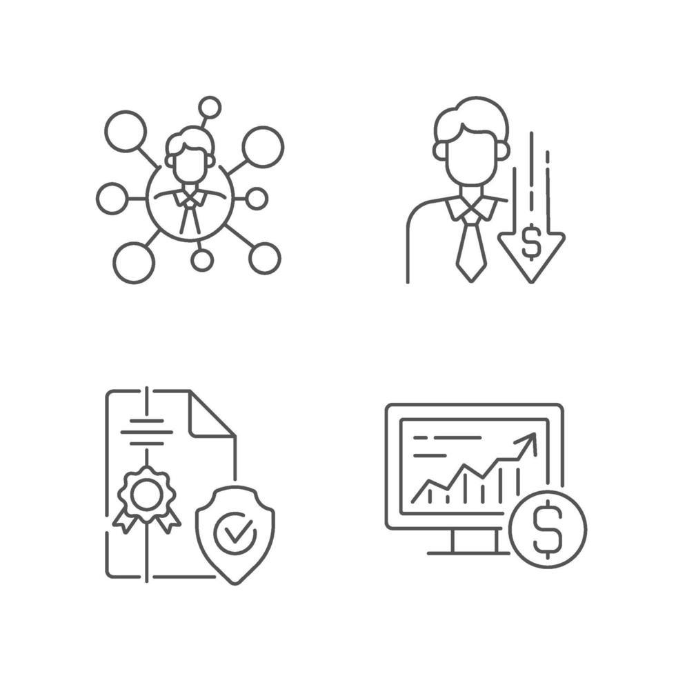 makelaardij service lineaire pictogrammen instellen vector