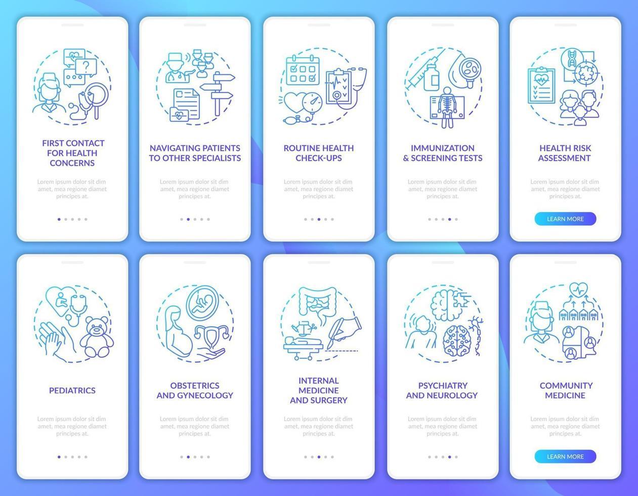 huisarts marine onboarding mobiele app pagina scherm met concepten ingesteld vector