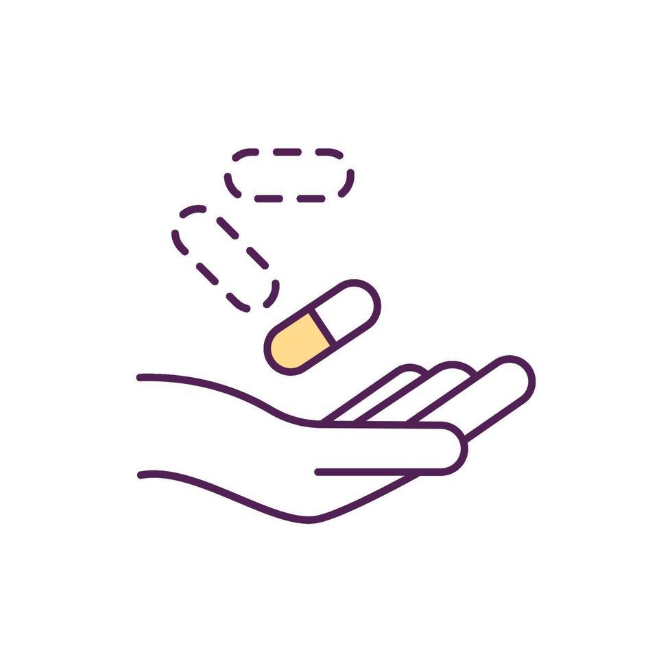 medicatie ondersteunde behandeling RGB-kleur pictogram vector