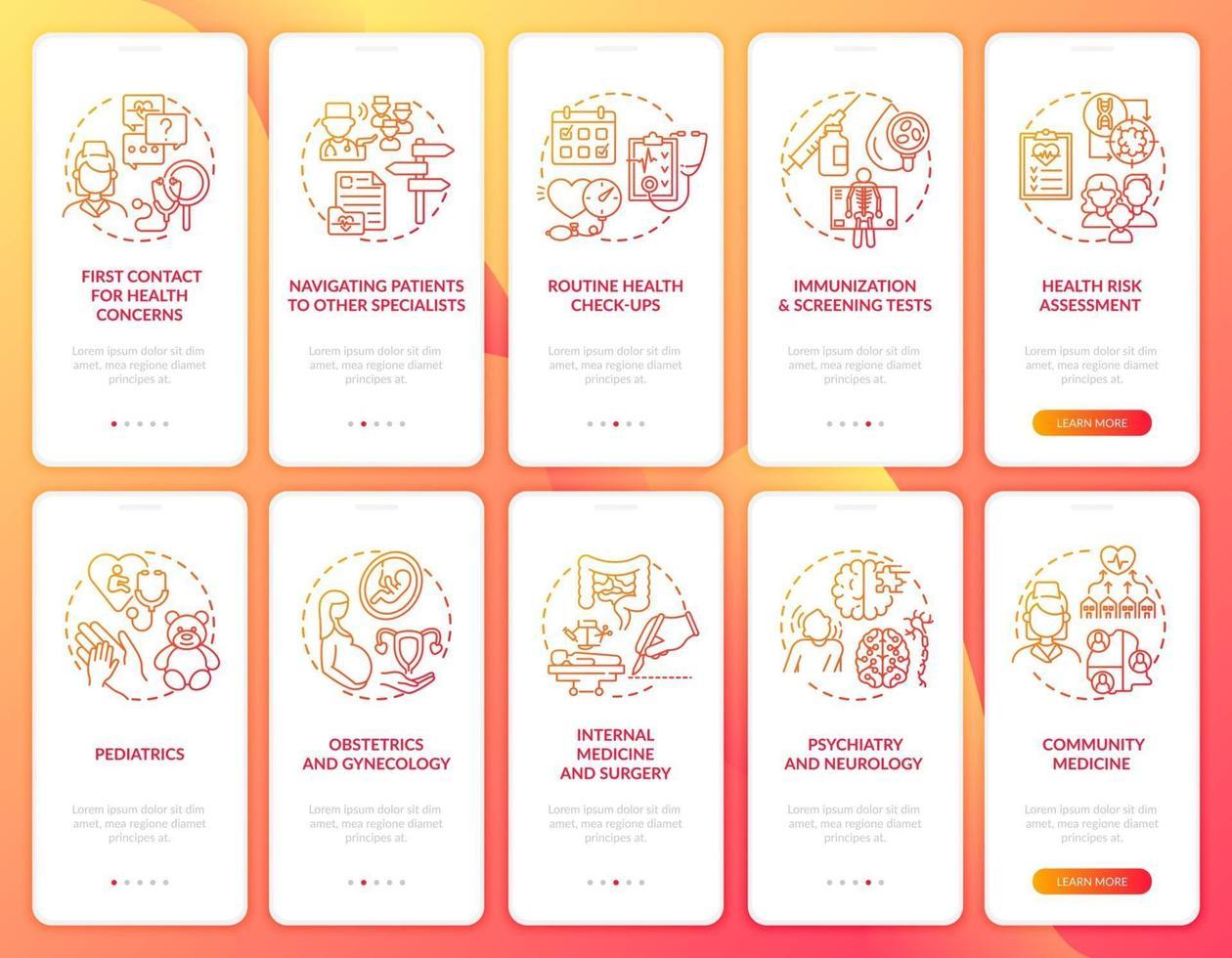 huisarts rood onboarding mobiele app paginascherm met concepten ingesteld vector