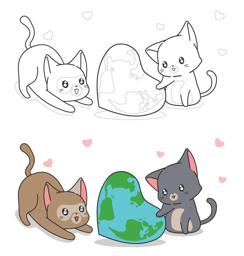 schattige kat en hartvormige wereldkaart cartoon kleurplaat voor kinderen vector
