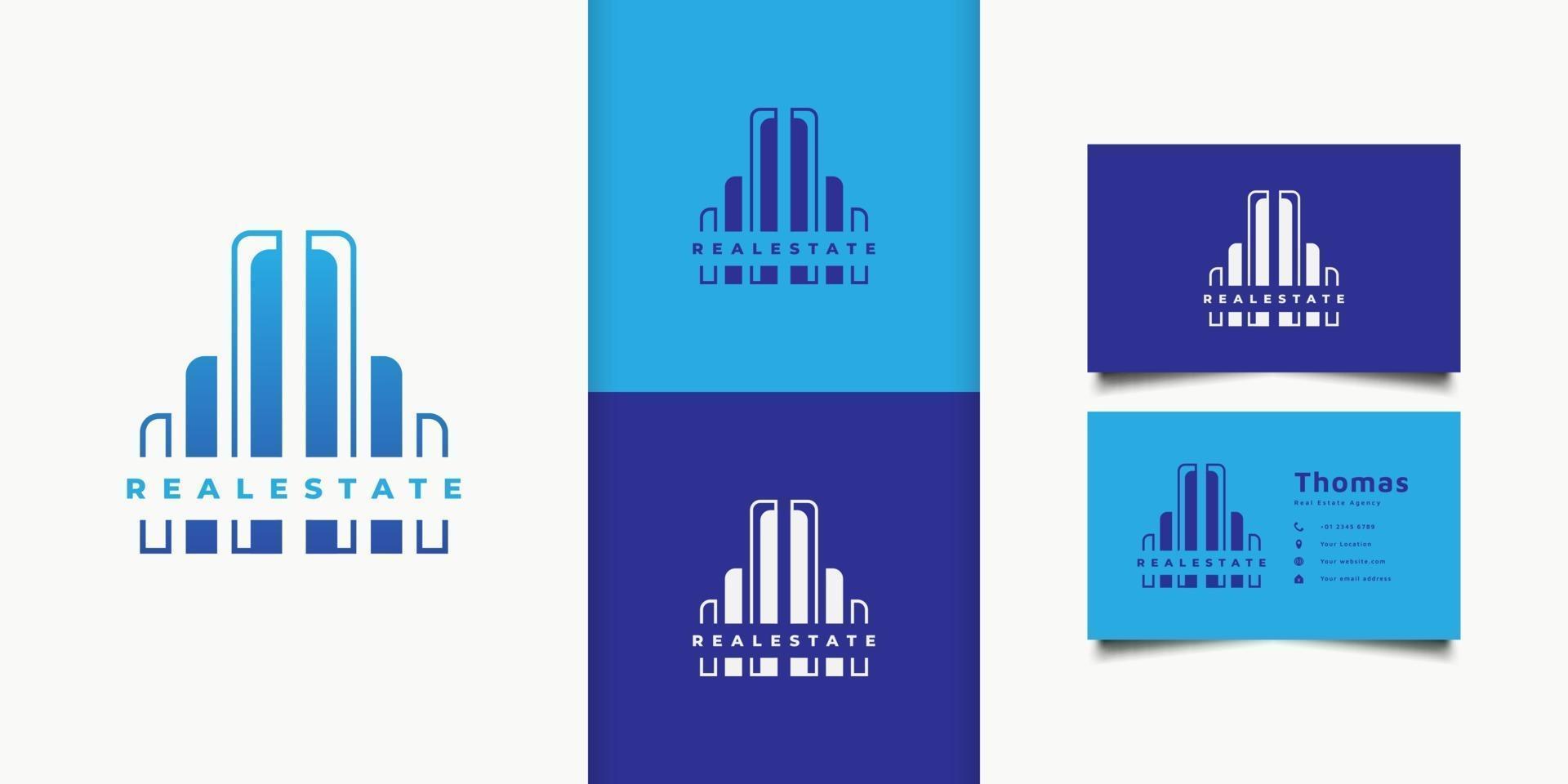 blauw modern onroerend goed logo. bouw architectuur gebouw logo ontwerpsjabloon vector