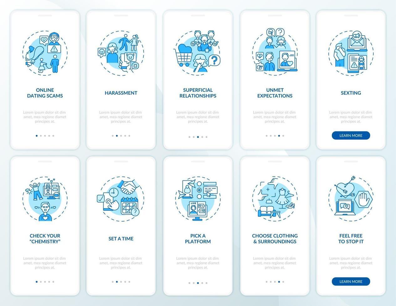 online dating scams onboarding mobiele app pagina scherm met concepten vector