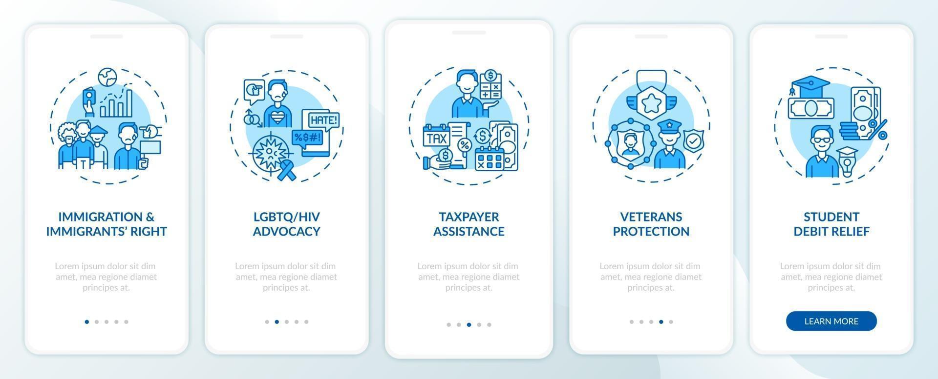 juridische servicetypes onboarding mobiele app-paginascherm met concepten vector