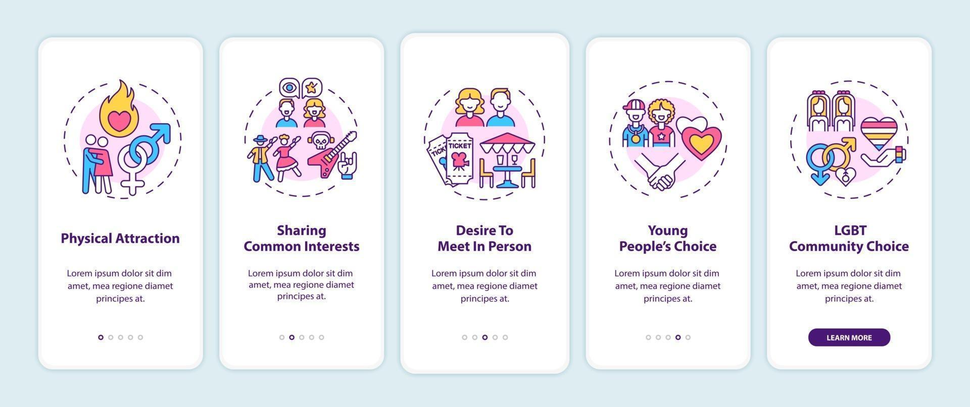 het vinden van een geschikte partner voor het onboarding van het mobiele app-paginascherm met concepten. vector