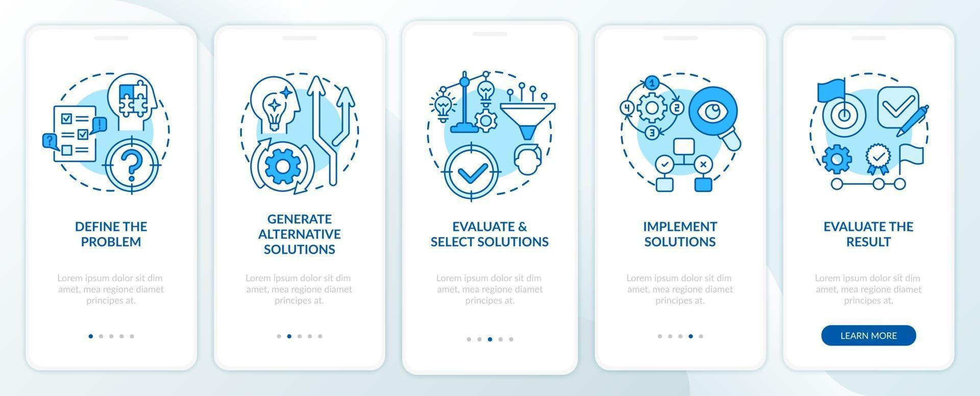 probleemoplossende stappen blauw onboarding mobiele app-paginascherm met concepten vector