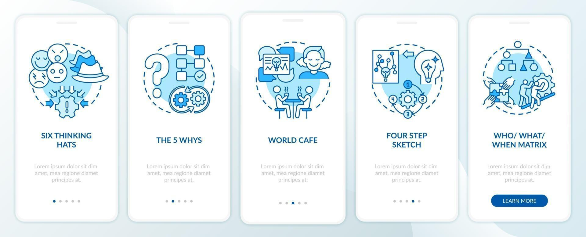 probleemoplossende methoden blauw onboarding mobiele app-paginascherm met concepten vector