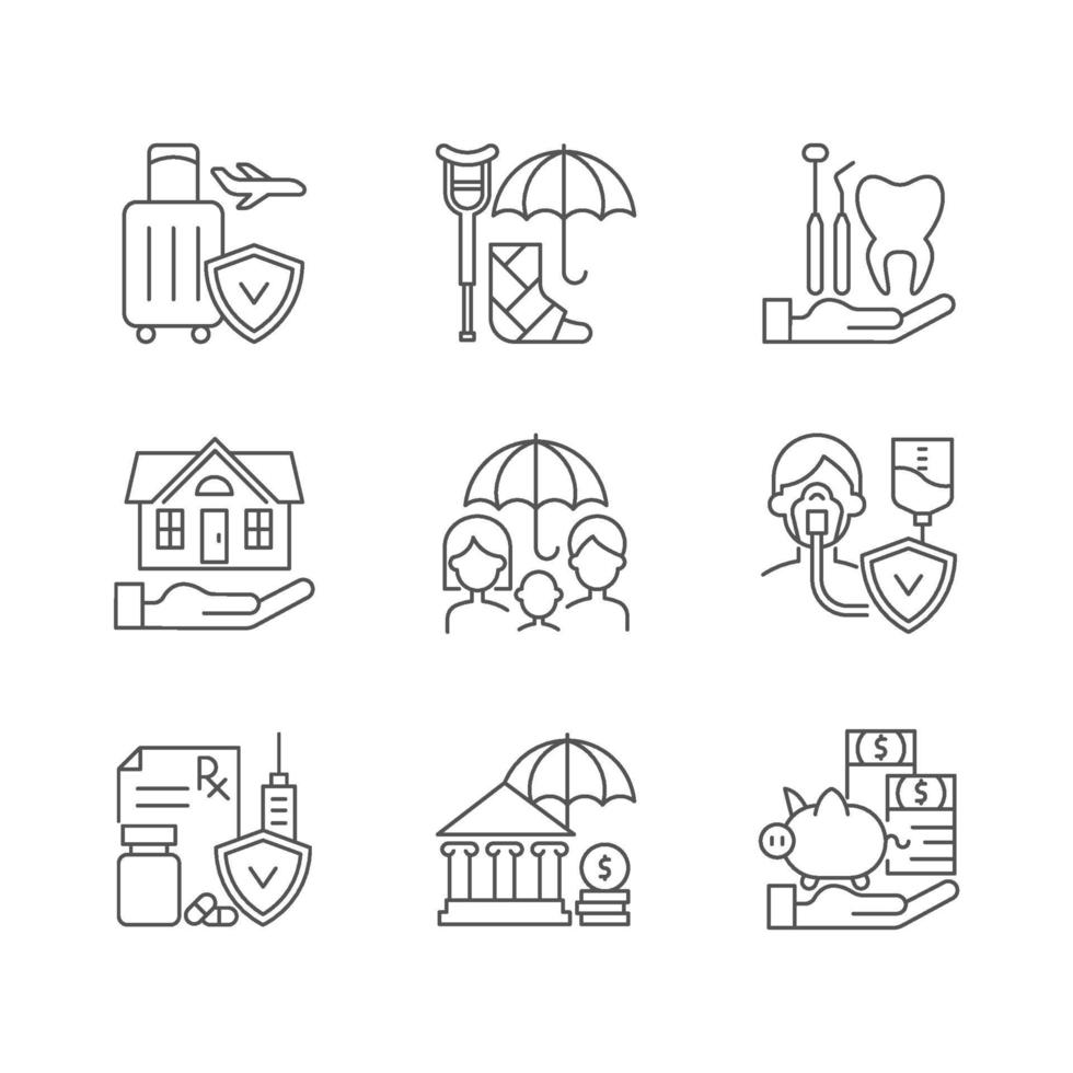 verzekering en bescherming lineaire pictogrammen instellen vector