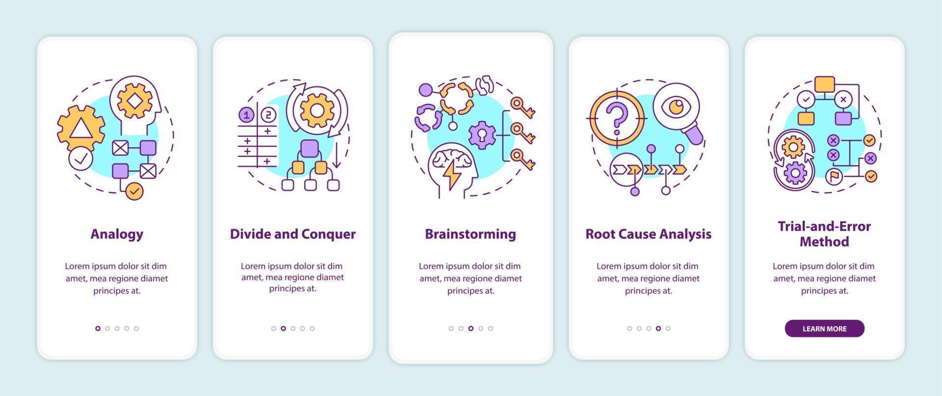 probleemoplossende strategieën voor het onboarding van het paginascherm van de mobiele app met concepten vector