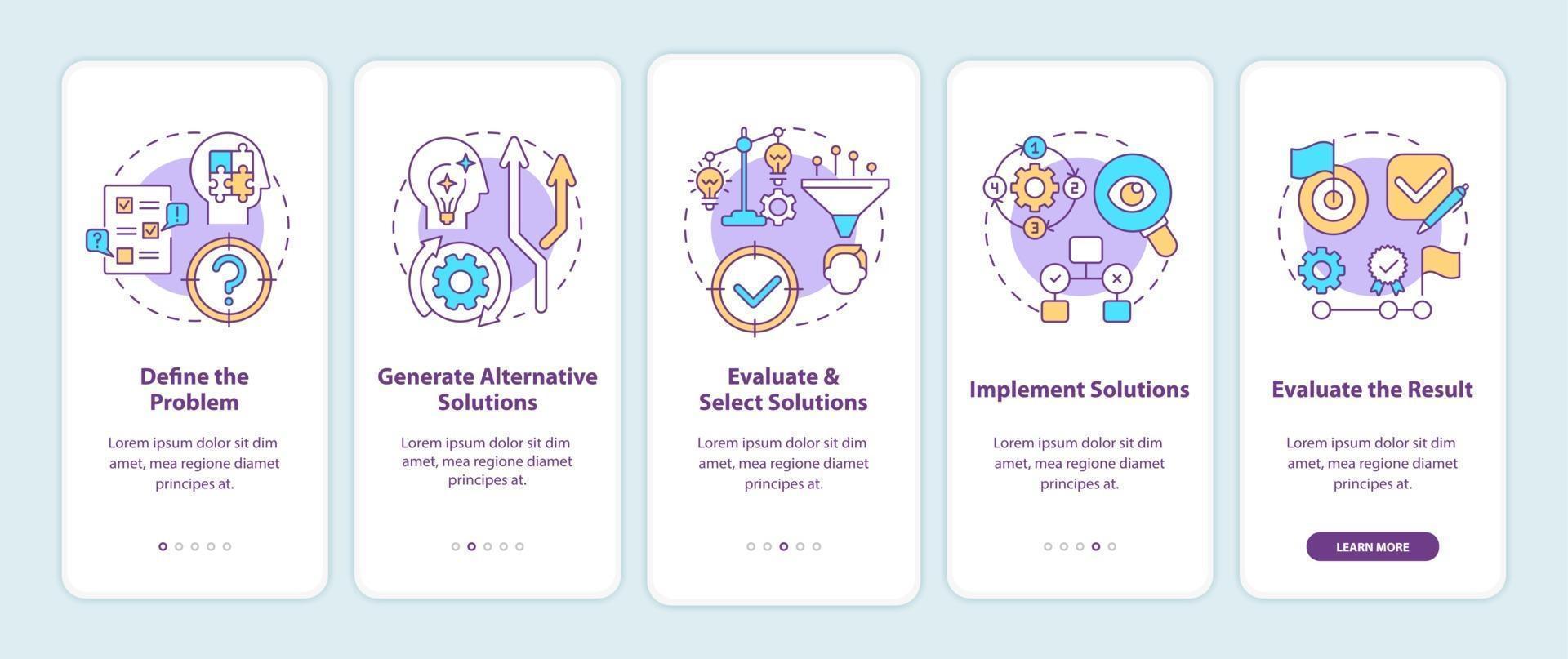 probleemoplossende stappen bij het onboarding van het paginascherm van de mobiele app met concepten vector