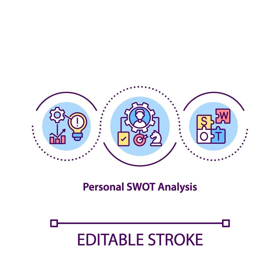 persoonlijke SWOT-analyse concept pictogram vector