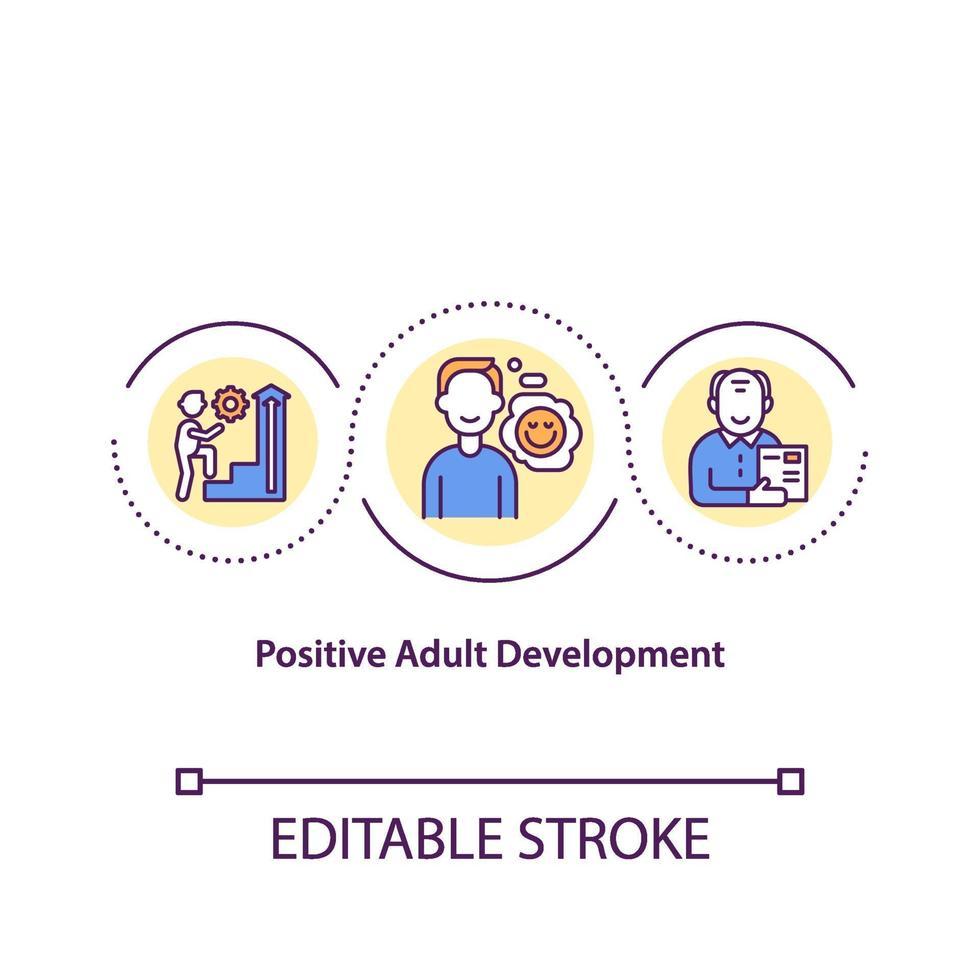 positieve volwassen ontwikkeling concept pictogram vector