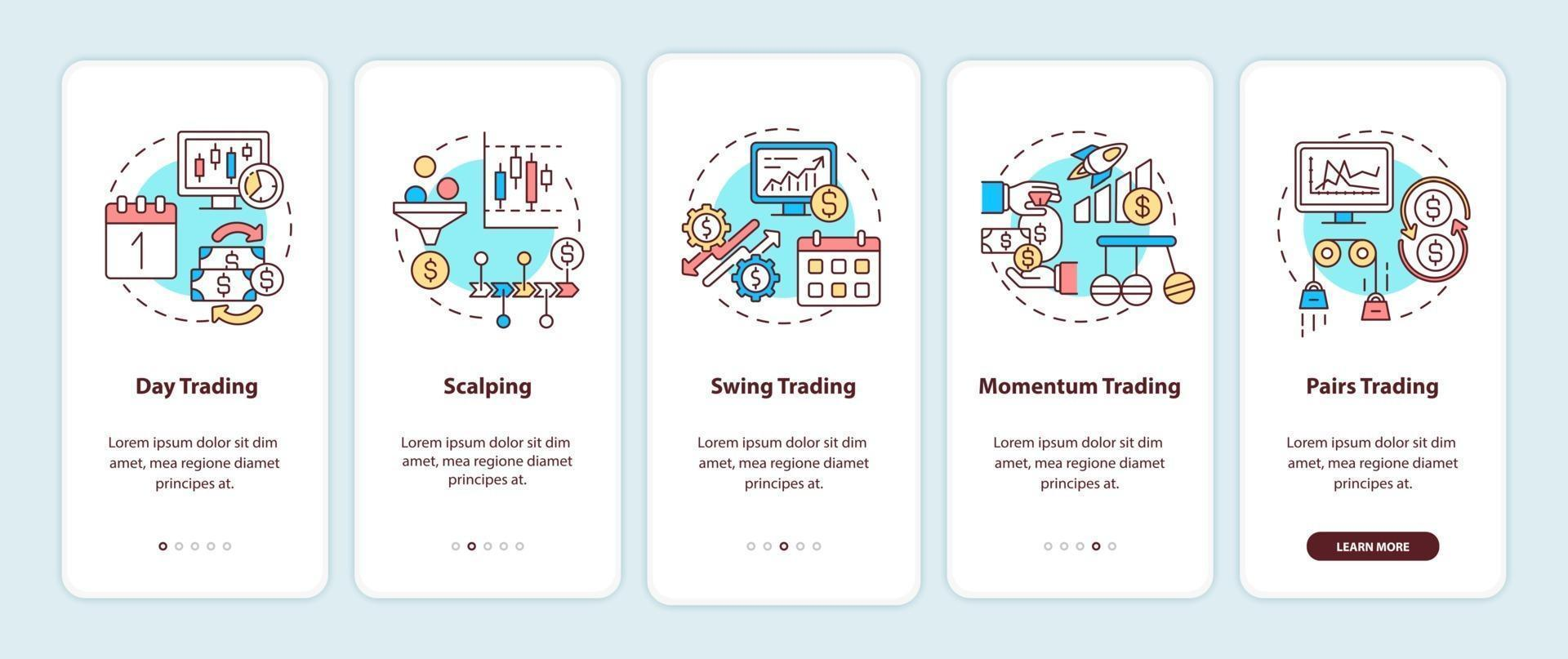aandelenhandelstijlen onboarding mobiele app-paginascherm met concepten vector