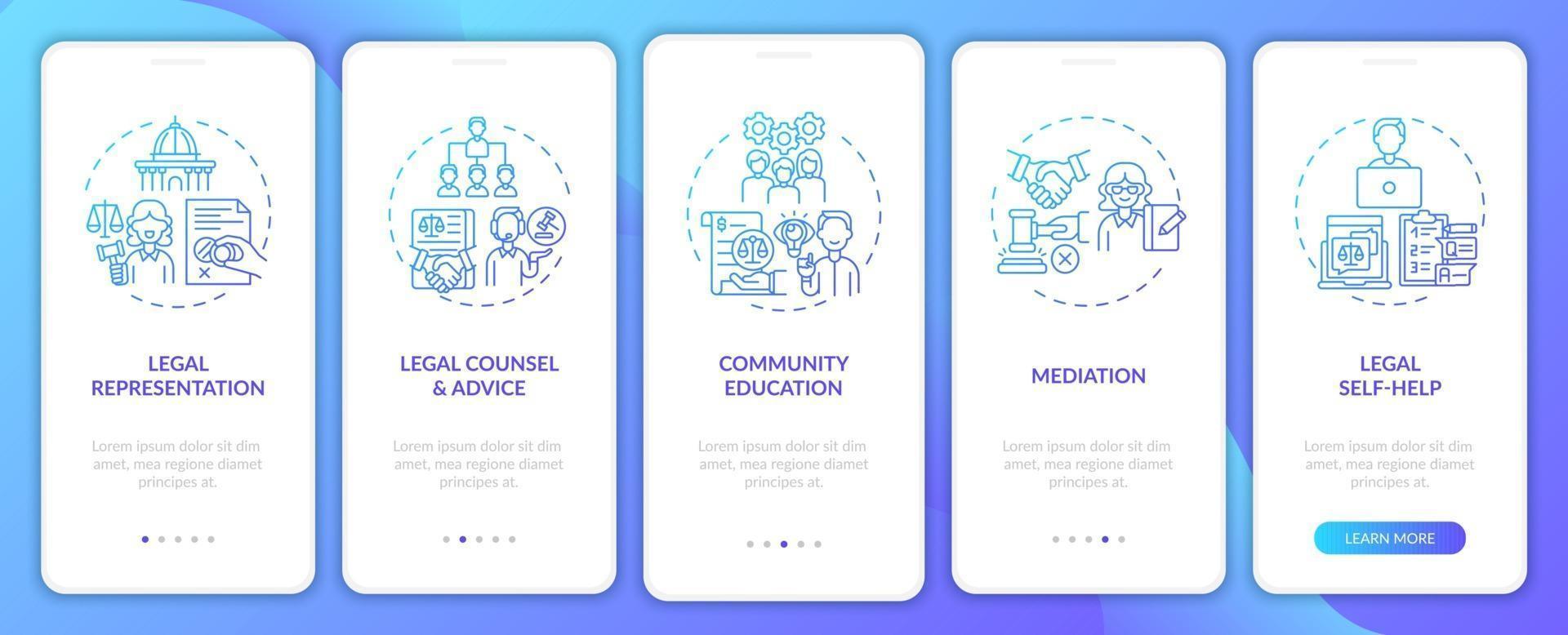 categorieën juridische diensten onboarding mobiele app-paginascherm met concepten vector