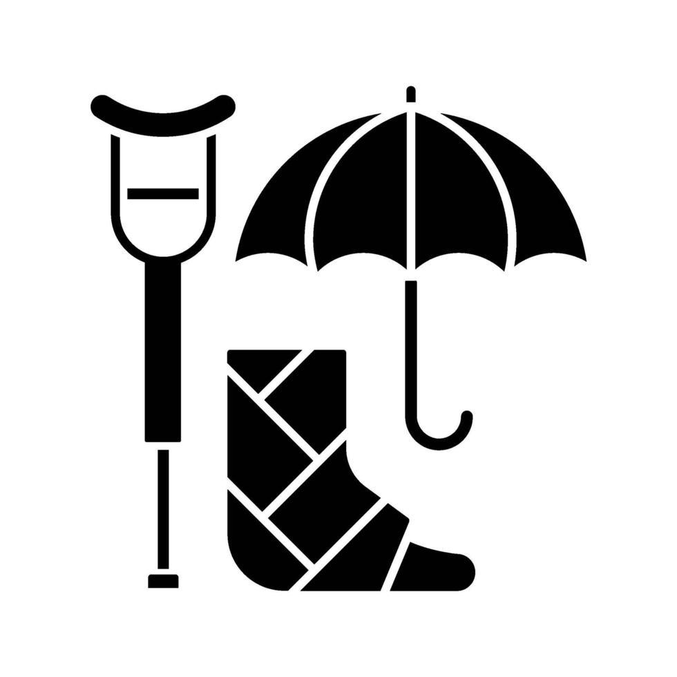 arbeidsongeschiktheidsverzekering zwarte glyph pictogram vector