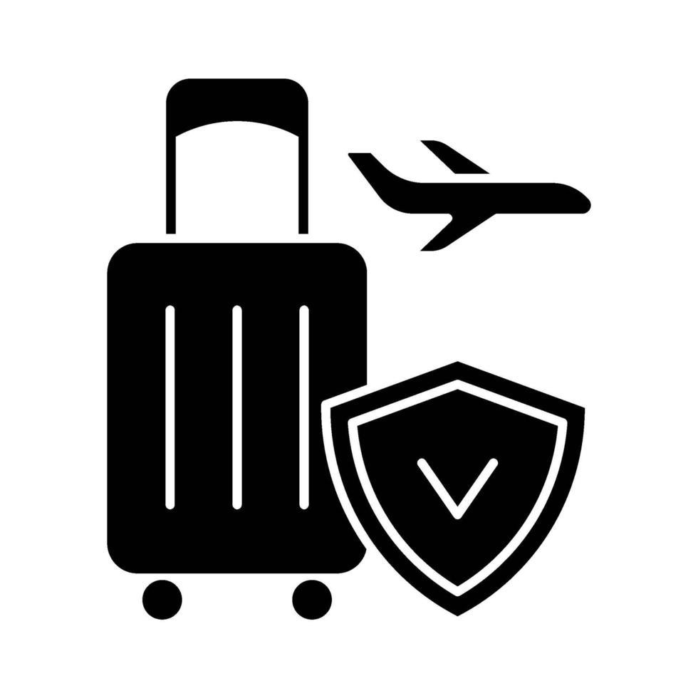 reisverzekering zwarte glyph pictogram vector