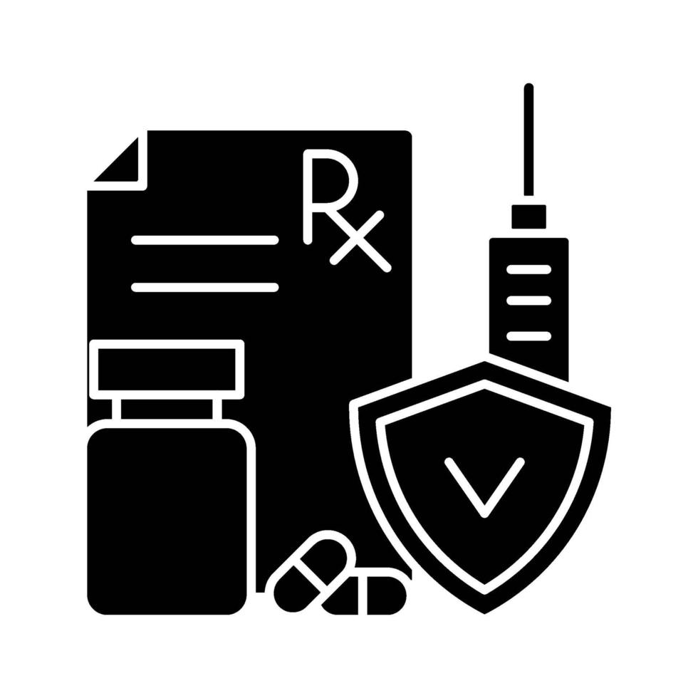 medische verzekering zwarte glyph pictogram vector