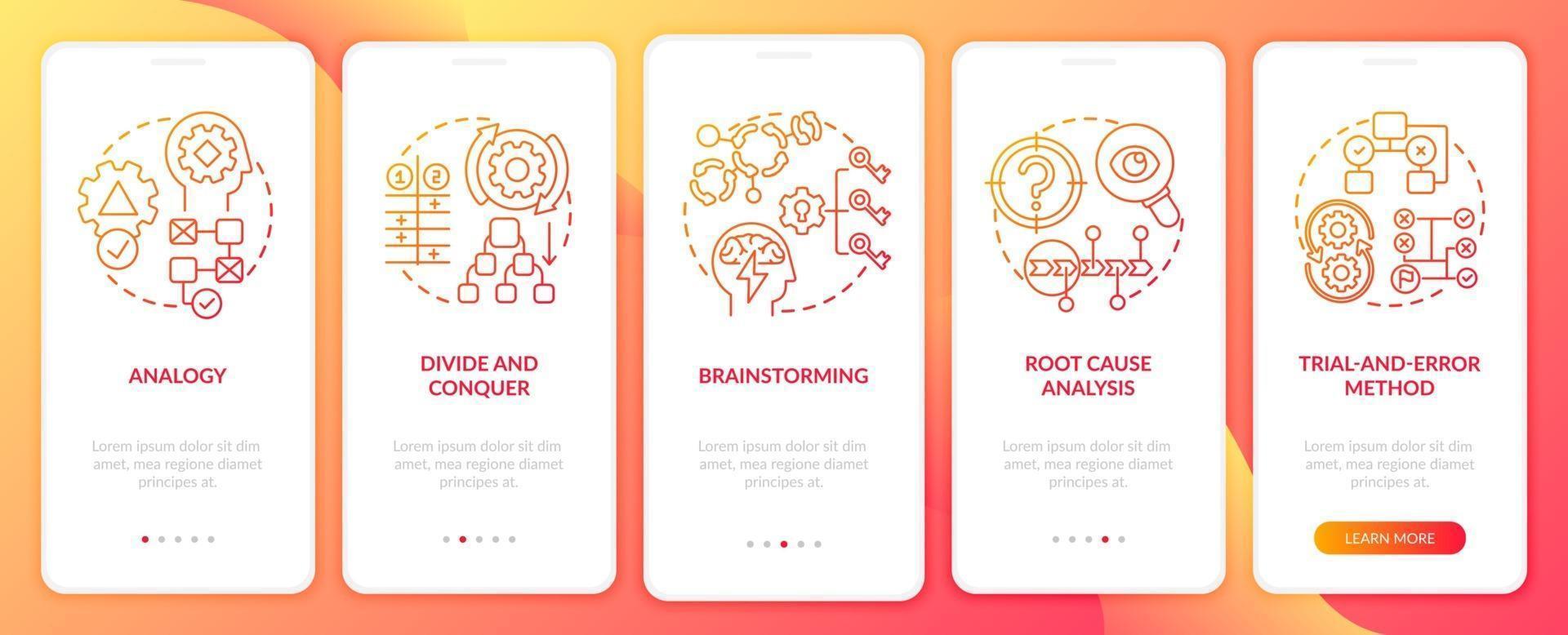 probleemoplossende strategieën rood onboarding mobiele app-paginascherm met concepten vector