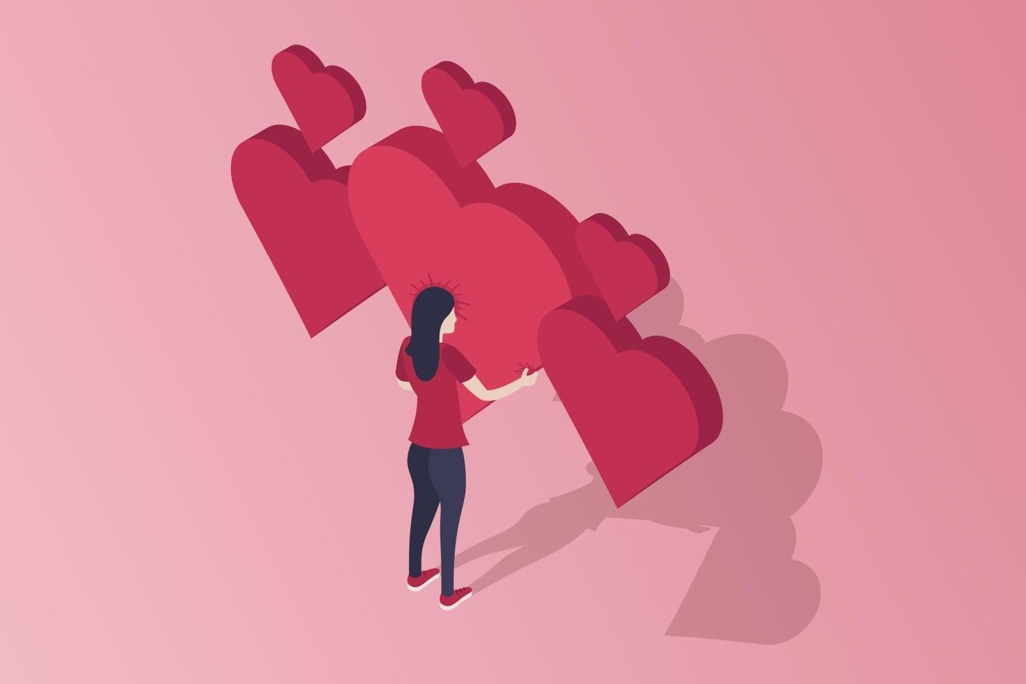 isometrische valentines harten vector