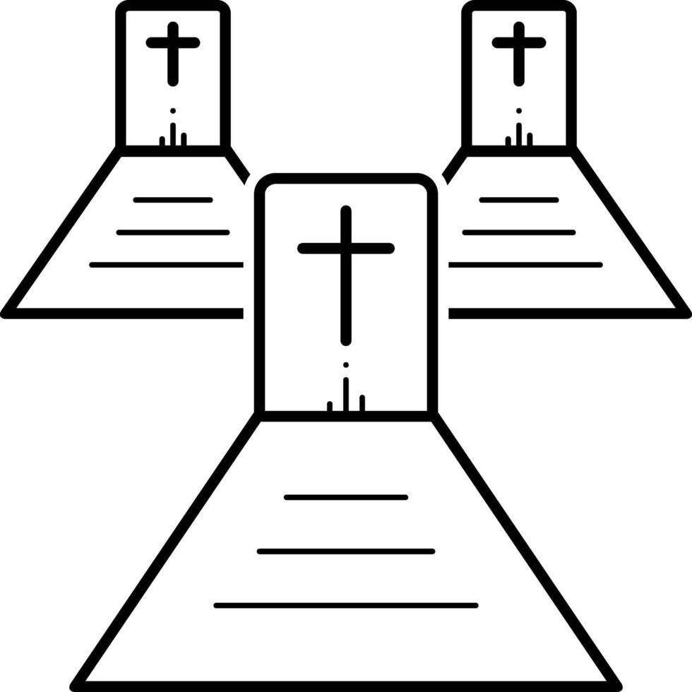 lijn pictogram voor kerkhof vector