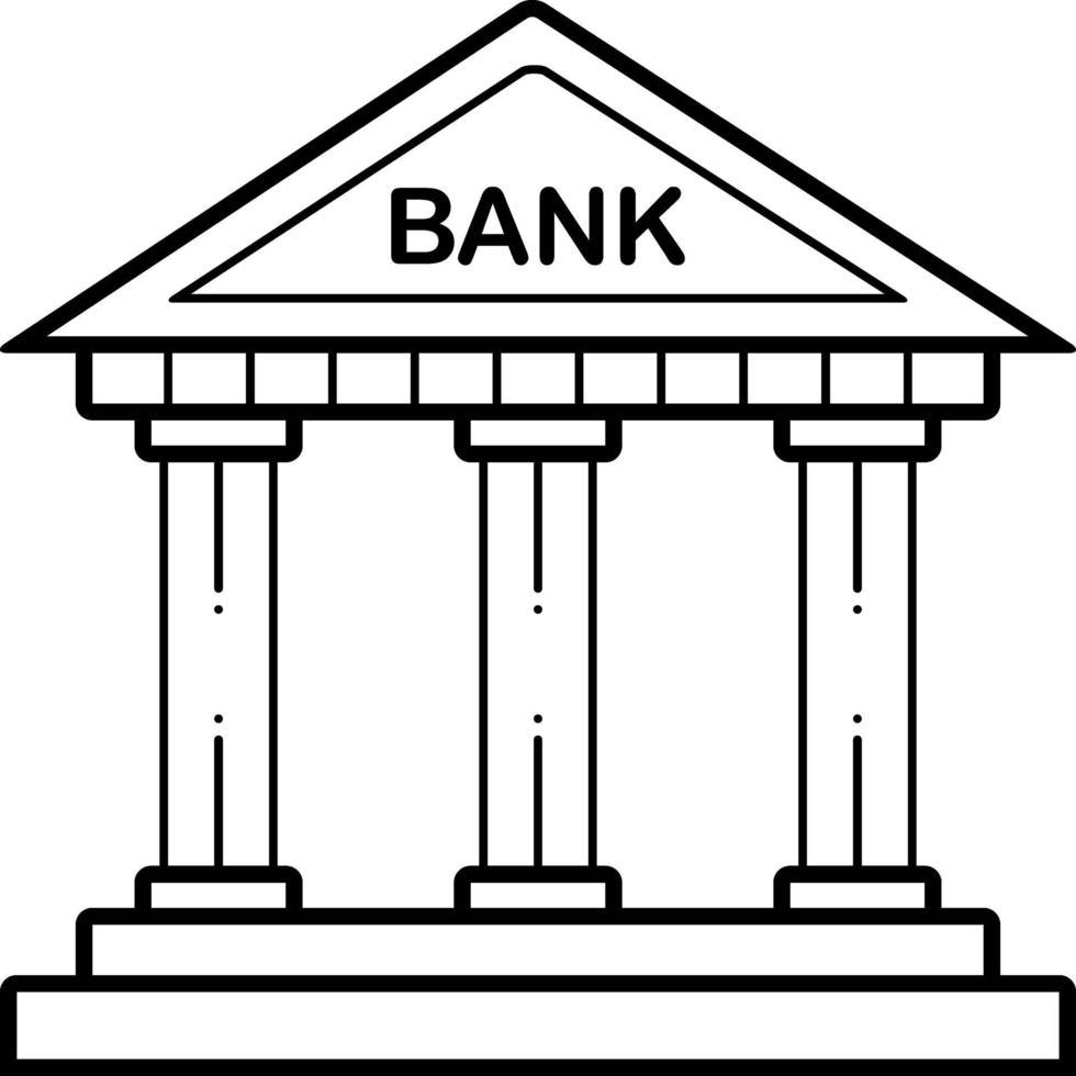 lijn pictogram voor bank vector